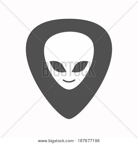 Isolated Guitar Plectrum With An Alien Face