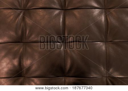 Background Pattern Closed Up of Abstract Texture of Luxury Brown Leather Sofa or Upholstery.
