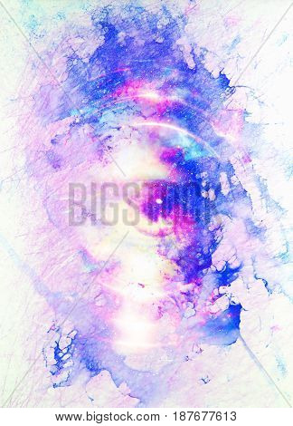 Woman eye in cosmic background. Painting and graphic design. Marble effect