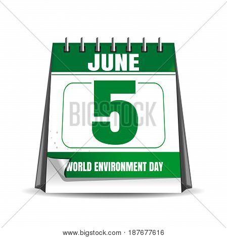 World Environment Day calendar. Environment Day date in the calendar. 5 June. Desktop calendar isolated on white background. Vector illustration