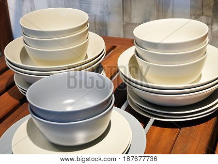 Kitchen Utensil Collection of White and Blue Porcelain Dishes Bowls and Plates Preparing for Serve Hot and Cold Food.