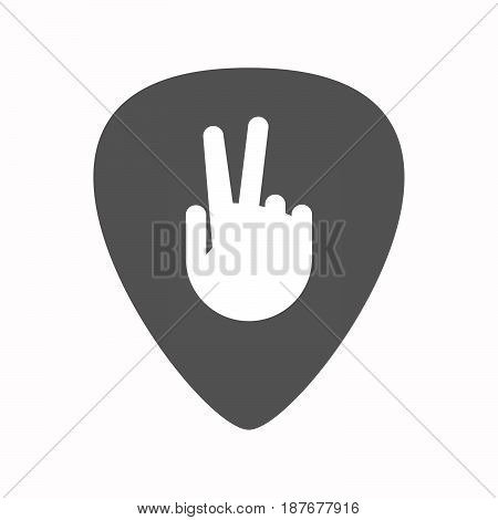 Isolated Guitar Plectrum With A Victory Hand