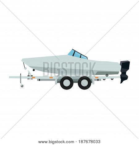 boat with trailer nautical transport luxury vector illustration