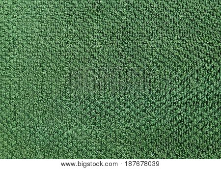 Fabric and Textile Close Up of Green Cotton Towel or Terry Texture Background with Copy Space for Text Decoration.