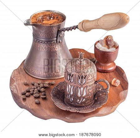 Traditional turkish coffee isolated on white.. Embossed metal cup and cezve