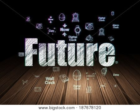 Timeline concept: Glowing text Future,  Hand Drawing Time Icons in grunge dark room with Wooden Floor, black background