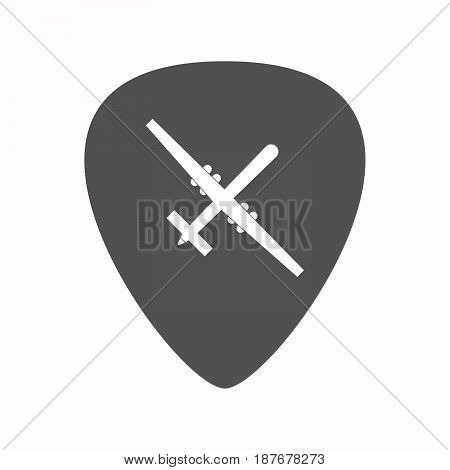 Isolated Guitar Plectrum With A War Drone