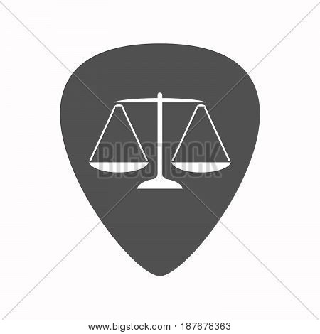 Isolated Guitar Plectrum With A Justice Weight Scale Sign