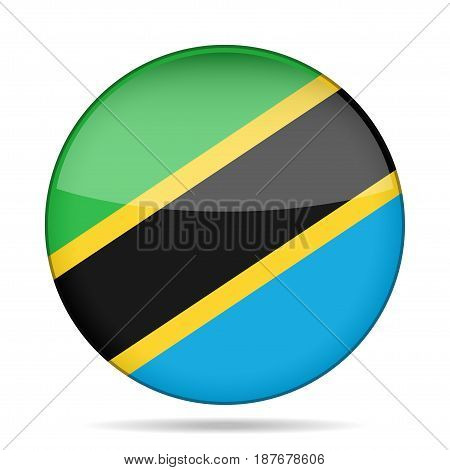 National flag of Tanzania. Shiny round button with shadow.