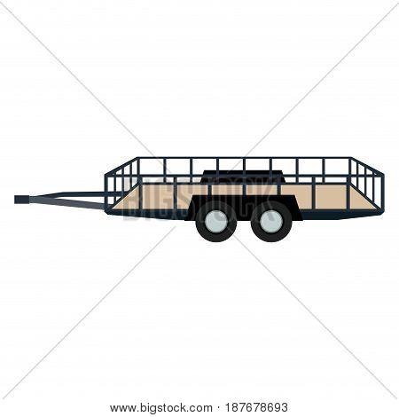 dump trailer cargo wheel transport vector illustration