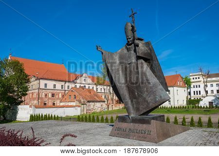 Kaunas, Lithuania - May 12, 2017: The Statue Of Pope John Paul Ii In The Exact Place Where He Held H