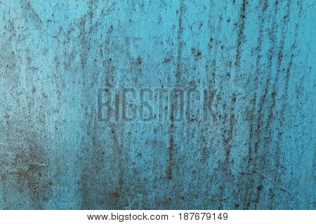 Background Pattern Horizontal Texture of Rusted Blue Metal Grunge Sheet with Copy Space for Text Decorated.