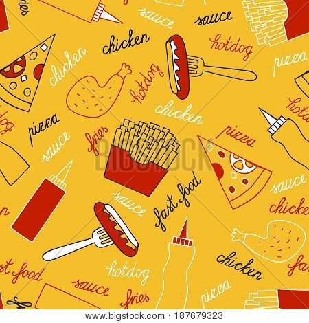 Fast food on a yellow background. Vector seamless pattern. Fries, chicken leg, pizza, sauces and lettering by hand.