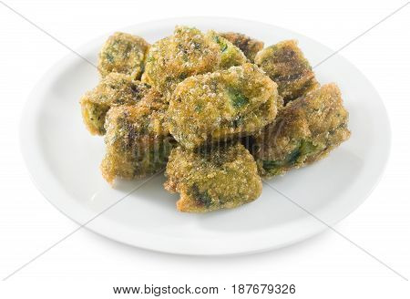 Fried Chinese Pancake or Fried Steamed Dumpling Made of Garlic Chives Rice Flour and Tapioca Flour Isolated on White Background. Traditional Food of China.