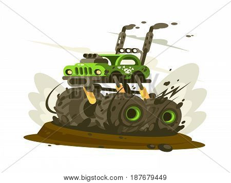 SUV monster truck with big wheels traveling on road. Vector illustration