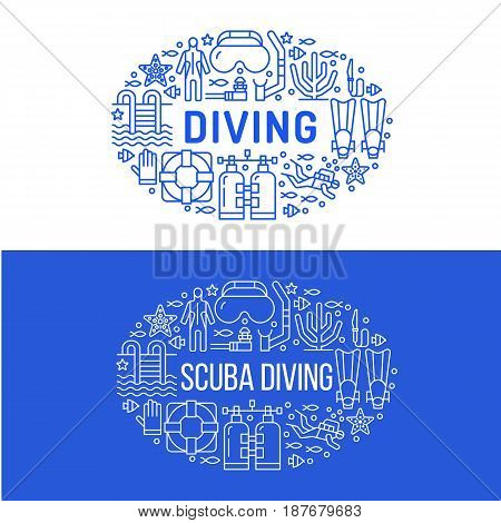 Scuba diving, snorkeling banner illustration. Water sport vector flat line icons, summer activity. Spearfishing equipment brochure, poster design. Isolated on white background.