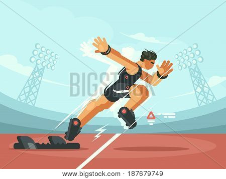 Athlete sprint start from pads to compete run. Vector illustration