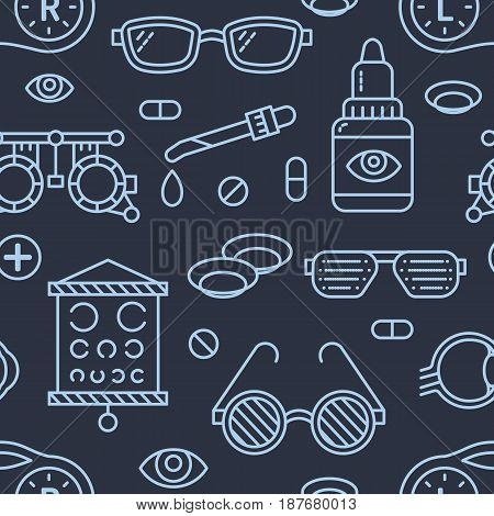 Ophthalmology, eyes health care seamless pattern, medical vector dark background. Optometry equipment, contact lenses, glasses line icons. Vision correction repeated illustration for oculist clinic.