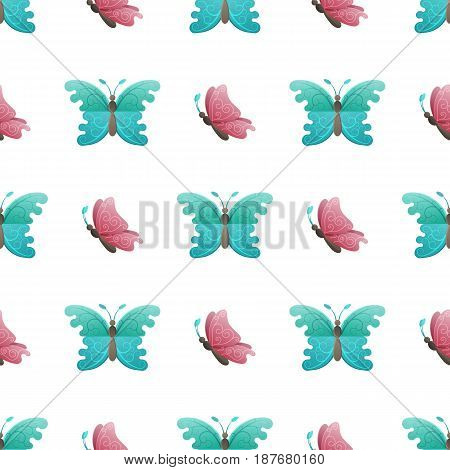 Beautiful butterflies seamless pattern. Fairy butterfly with spiral ornaments on turquoise and pink wings flat vector on white. Colorful insects illustration for wrapping paper, prints on fabric