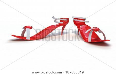Red heeled shoes on white 3d render working