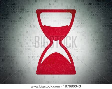 Time concept: Painted red Hourglass icon on Digital Data Paper background