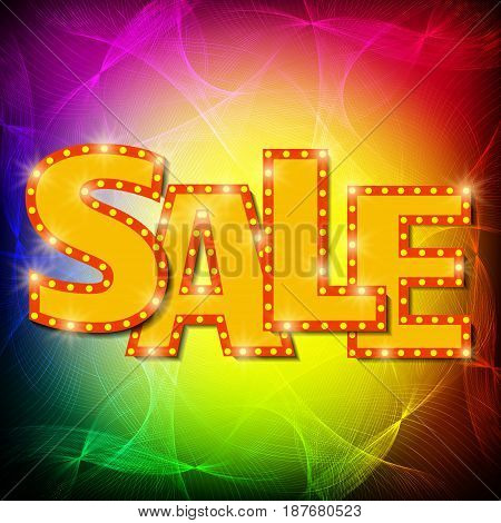 Sale Background With Retro Waves Effect
