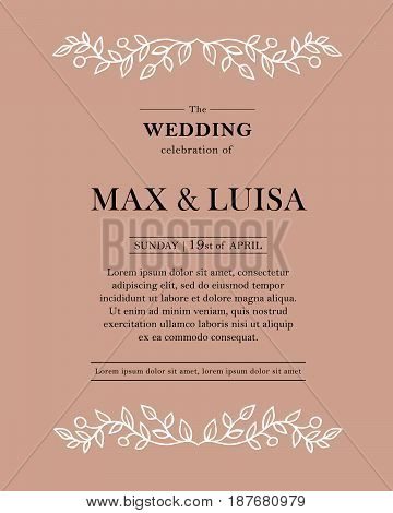 Graphic elements for the wedding. Frames of leaflets twigs. Invitations wedding card with elegant floral elements
