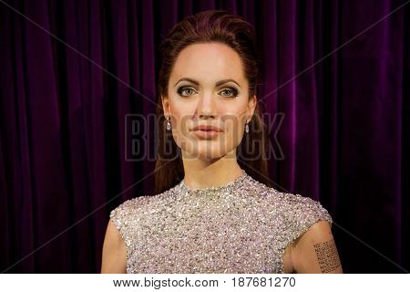 Amsterdam, Netherlands - March, 2017: Wax figure of Angelina Jolie in Madame Tussauds Wax museum in Amsterdam, Netherlands