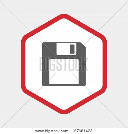 Isolated Hexagon With A Floppy Disk