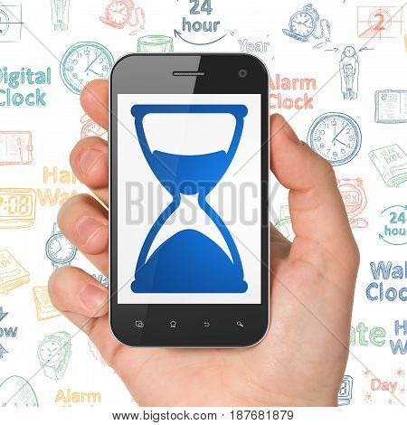 Timeline concept: Hand Holding Smartphone with  blue Hourglass icon on display,  Hand Drawing Time Icons background, 3D rendering