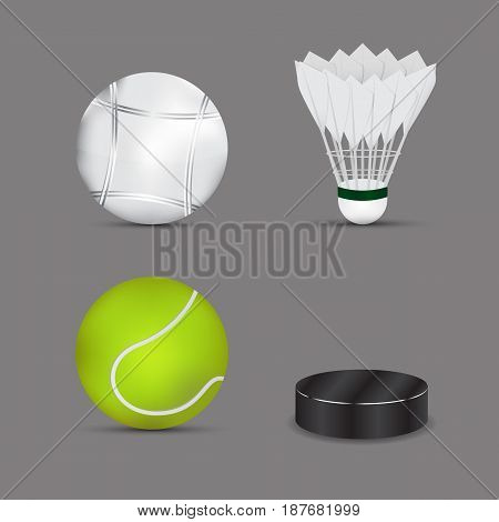set of sports balls with gray background. Boules ball . shuttlecock or badminton ball. tennis ball . ice hockey ball . vector. illustration. graphic design.