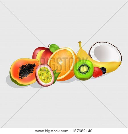 Sliced in half tropical fruits set. Group of juicy fruits, berry and nut realistic vectors isolated on white. Fresh exotic dessert illustration for healthy food and natural nutrition concepts