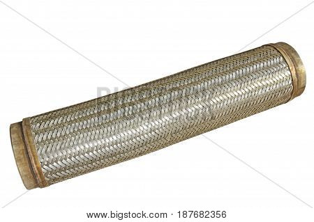 Flexible metal hose isolated on white background.