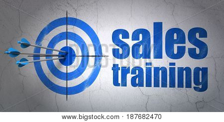 Success marketing concept: arrows hitting the center of target, Blue Sales Training on wall background, 3D rendering