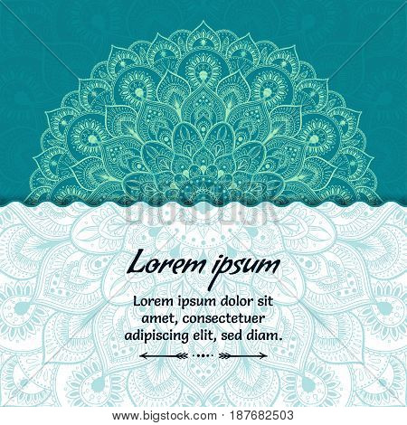 Card with beautiful ethnic mandala with a floral tribal pattern. Veactor illustration.