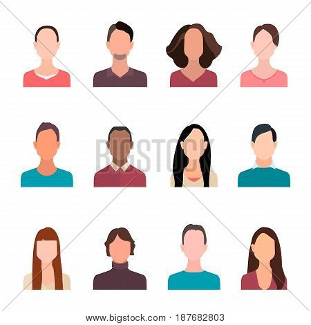 Set of avatar icons for app or web. avatar people, flat avatar sign Graphic illustration avatar