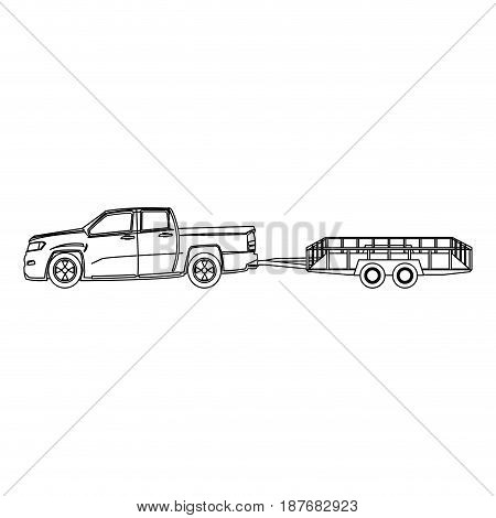 pickup truck and dump trailer work transport vector illustration
