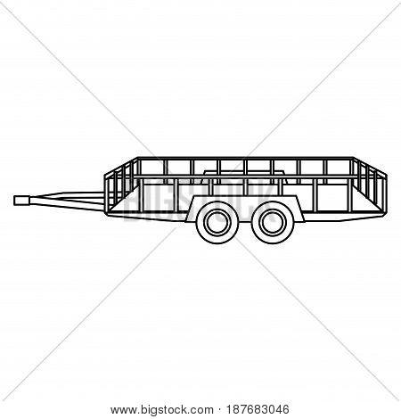 dump trailer cargo wheel transport outline vector illustration