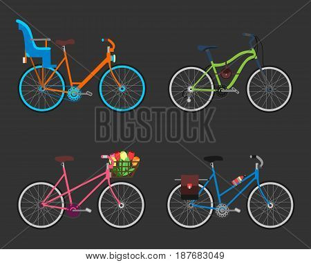 Vintage design four bicycle set. Retro old style bicycles transport wheel. Antique cycle transportation. Graphic illustration