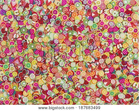 Sliced fruits. Background of fresh falling mixed fruits. Healthy food