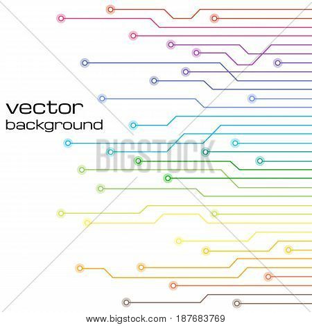 Abstract technological white background with elements of the microchip. Circuit board background texture. Vector illustration.