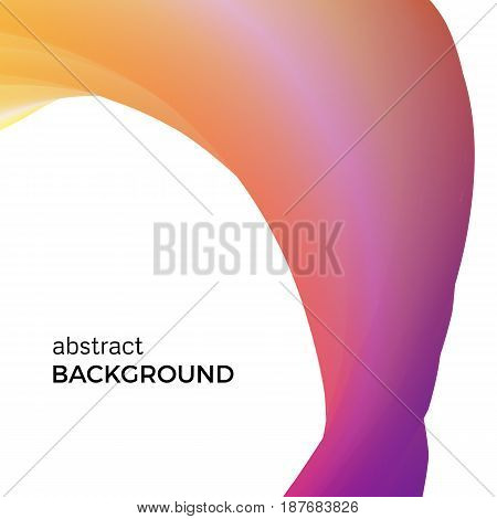 Color abstract composition of the orange watercolor waves. Vector abstract colorful background with bent dynamic form.