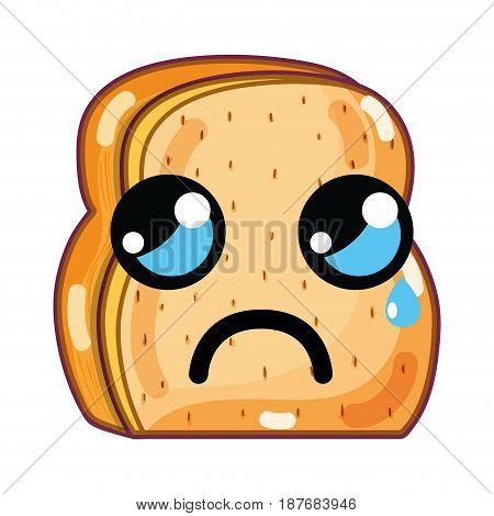 kawaii cute crying chopped bread, vector illustration design