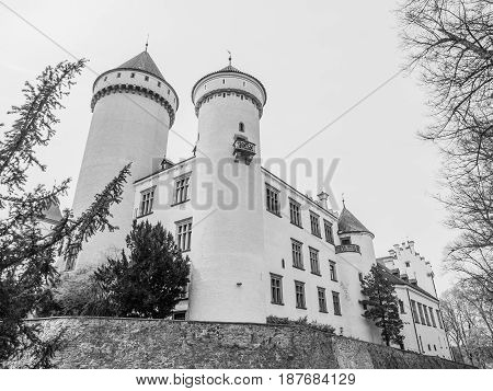 Konopiste Castle with beautiful garde. Historical meadieval chateau in central Bohemia, Czech Republic, Europe. Black and white image.