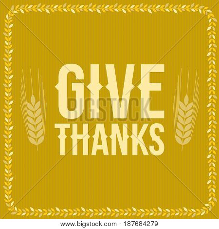 give thanks poster for thanksgiving festival, yellow background