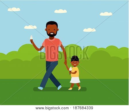 Happy Father's Day. Dad with daughter in the Park. Happy holiday. African Americans family. Vector illustration in cartoon flat style