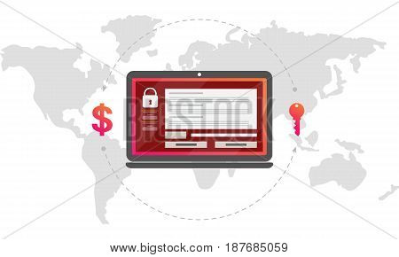 Virus encryptor message on laptop screen. Money exchange for a key. Editable eps10 Vector. Transparent background.