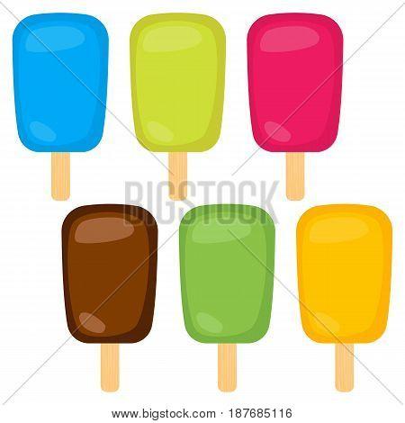 Set of vector illustration of ice cream. Multicolored creamy ice cream on a wooden stick