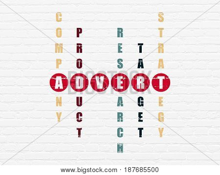 Advertising concept: Painted red word Advert in solving Crossword Puzzle