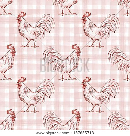 Abstract checkered seamless pattern with rooster. Monochrome